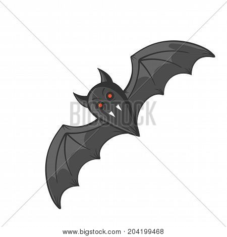 cartoon vampire bat, halloween concept, vector illustration