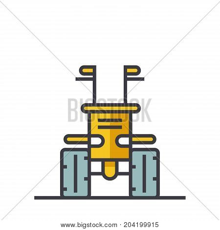 Industrial machine tractor flat line illustration, concept vector icon isolated on white background