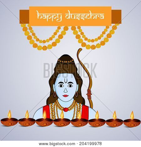 illustration of hindu god Ram, lamps and decoration with Happy Dussehra text on the occasion of hindu festival Dussehra