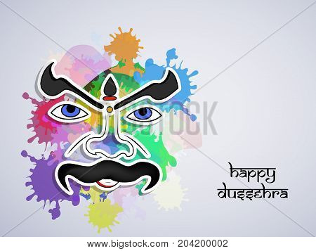 illustration of evil face with Happy Dussehra text on the occasion of hindu festival Dussehra