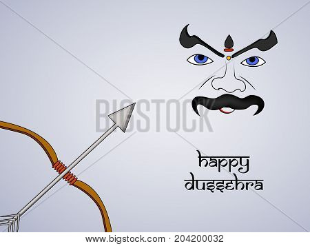 illustration of bow, arrow and evil face with Happy Dussehra text on the occasion of hindu festival Dussehra