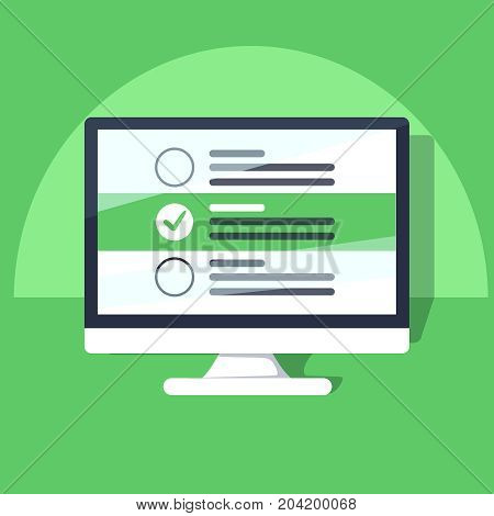 Checkboxes on computer screen. Checkboxes and green checkmarks. Modern concept for web banners, web sites, infographics. Creative flat design vector illustration isolated on blue background
