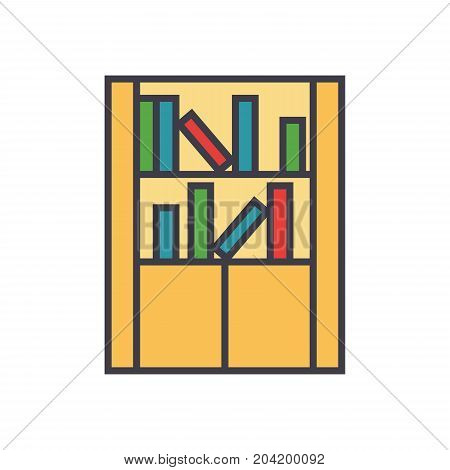 Library furniture, bookcase flat line illustration, concept vector icon isolated on white background