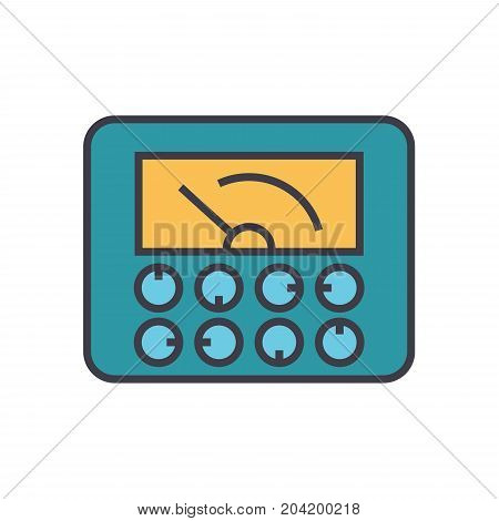 Measurable indicators, gauge flat line illustration, concept vector icon isolated on white background