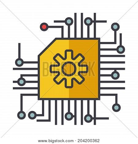 Microscheme, ai, artificial intelligence flat line illustration, concept vector icon isolated on white background