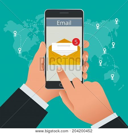 Man received an e-mail online on a mobile phone. Message online Incoming email isometric vector concept. Receiving messages.