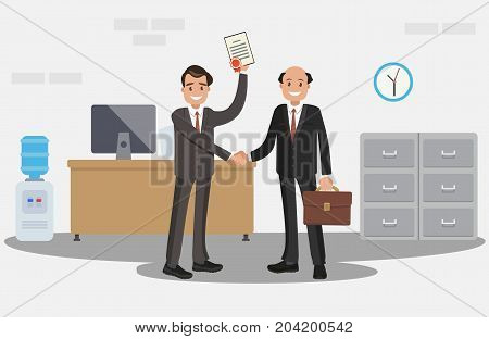 Rewarding the employee with a diploma. A happy man in a suit with a diploma. Vector illustration. Flat design.