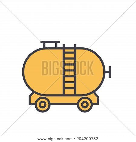 Oil tank flat line illustration, concept vector icon isolated on white background