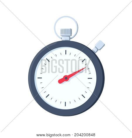 Stopwatch icon. Flat illustration of stopwatch vector icon for web design. Sport timer on competitions. Start, finish Time management. Vector illustration flat design Isolated on background. Stock vector.