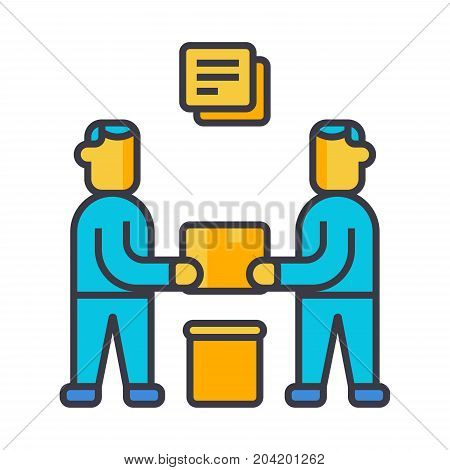 Partnership, contract signing flat line illustration, concept vector icon isolated on white background
