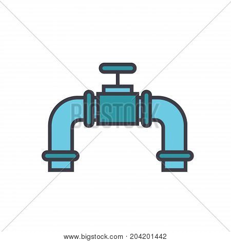 Pipes with gas valve flat line illustration, concept vector icon isolated on white background