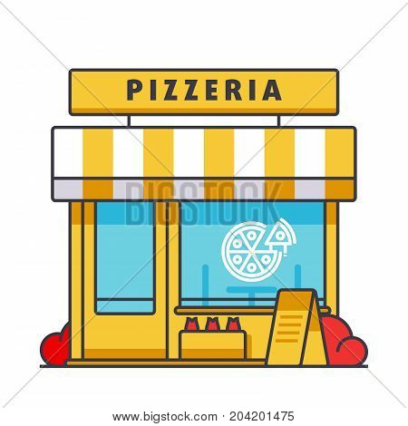 Pizzeria building flat line illustration, concept vector icon isolated on white background