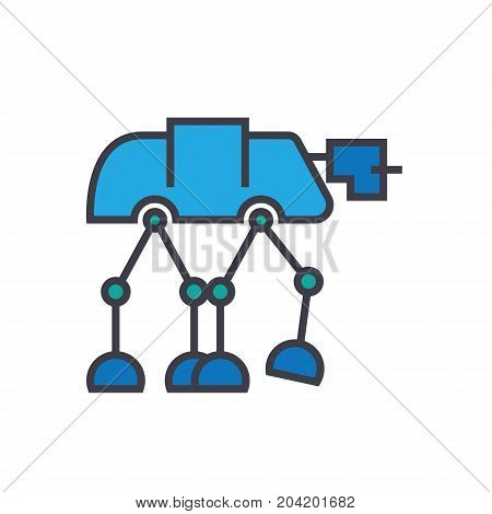 Robot warior, armored transport  flat line illustration, concept vector icon isolated on white background