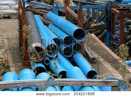 MAGDEBURG; GERMANY - September 14, 2017: Construction site at the main station: Blue pipes waiting for their use.