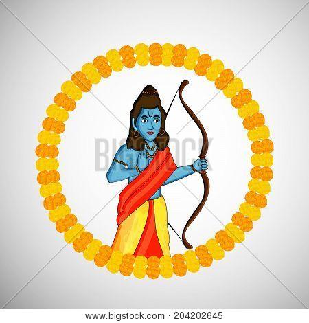 illustration of hindu god Ram on the occasion of hindu festival Dussehra