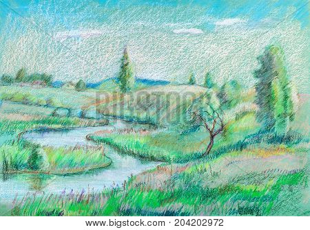 View to the little river, summer, hills