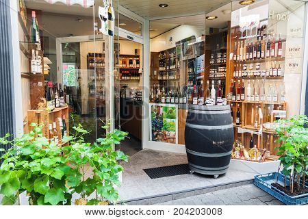 COCHEM GERMANY - JULY 5 2017: Entrance of traditional Mosel wine shop in Cochem popular wine and holiday resort in Germany.