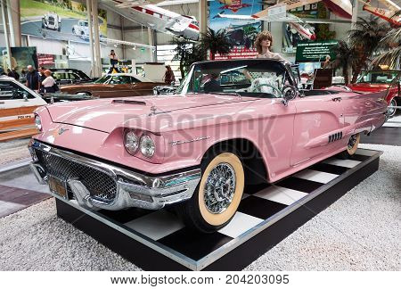 SINSHEIM GERMANY - JULY 1 2017: Classic 1959 Ford Thunderbird convertible on display in Sinsheim auto and technik museum in Germany