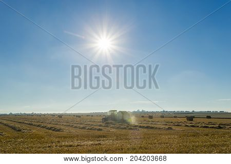 Yellow Wheat Field With Straw Bales After Harvesting On A Sunny Day In Normandy, France. Country Lan