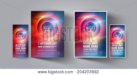 Night Club Party Flyer or Poster Layout Template. Musical electro concert in the style of house, dubstep, techno, minimal, trance, Drum and Bass or Indie rock.Background of electric discharge.