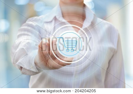 Businesswoman Clicks On The Purchase Button.