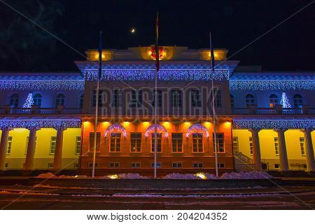 Night view of the Presidential Palace in Vilnius with christmas illumination at Lithuania