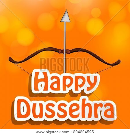 illustration of bow and arrow with Happy Dussehra text on the occasion of hindu festival Dussehra