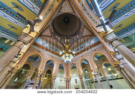 Dubai, UAE - January 08, 2012: View of Jumeirah Grand Mosque dome interior in Dubai. It is said that it is the most photographed mosque in Dubai city and is open to non-Muslims for tours