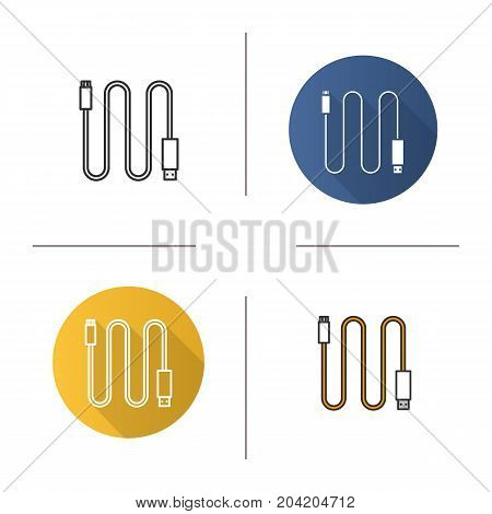 Mini USB cable icon. Flat design, linear and color styles. Isolated vector illustrations