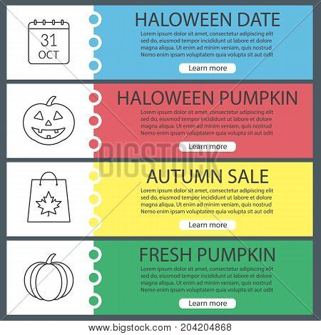 Halloween web banner templates set. October 31 calendar, pumpkins, shopping bag with maple leaf. Website color menu items with linear icons. Vector headers design concepts