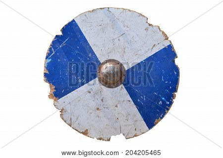 medieval wood and metal blue shield isolated over white