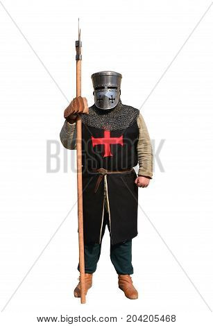 Medieval Festival medieval templar knight warrior reenactor isolated