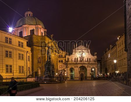 Prague, Czech Republic - January 24, 2015. Illuminated Buildings In The Capital Of Czech . Old And N