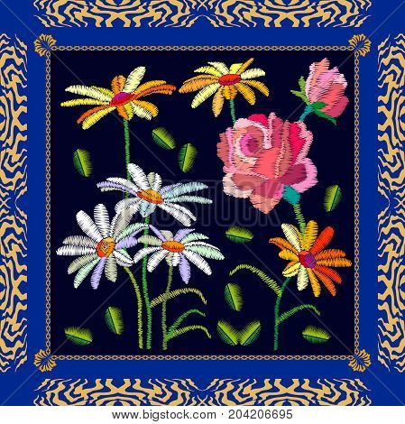 Stylized embroidered texture. Vintage textile design collection.