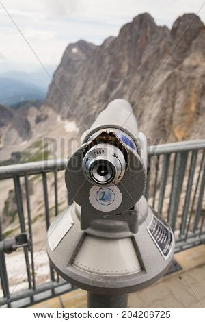 Public Telescope On Dachstein Glacier In Northern Limestone Alps, Austria