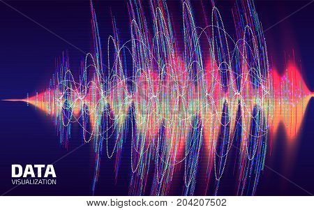 Big Data Visualization. Fractal Element With Lines And Dots Array. Digital Sound Wave. Sound Data Pr