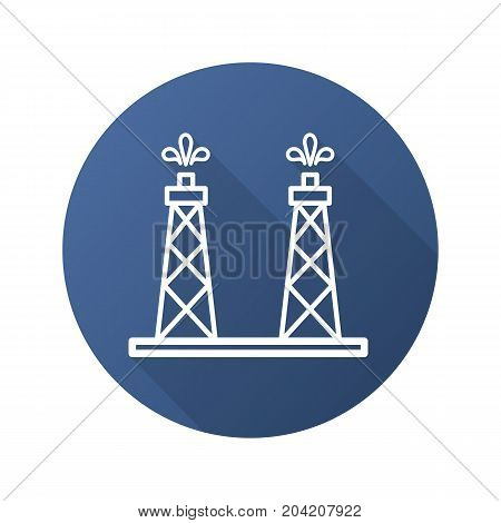 Oil production platforms flat linear long shadow icon. Oil towers. Vector outline symbol