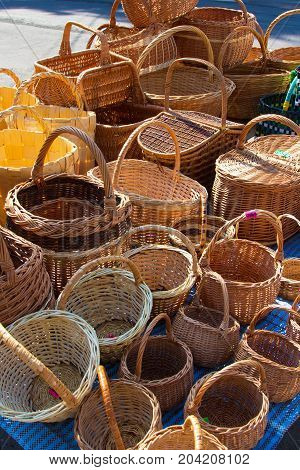 Several different wooden baskets. Traditional handmade Russian product for household needs