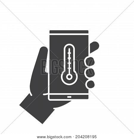 Hand holding smartphone glyph icon. Silhouette symbol. Smart phone weather forecast app. Negative space. Vector isolated illustration