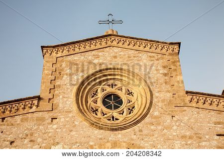 A detail of the facade of the Sanctuary of Maria Santissima in the town of Custonaci in the Trapani province of Sicily in Italy