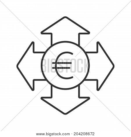 Money spending linear icon. Thin line illustration. Euro currency with all direction arrows. Expanses contour symbol. Vector isolated outline drawing
