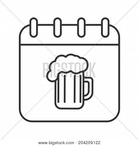 Oktoberfest date linear icon. Thin line illustration. Calendar page with beer glass. Contour symbol. Vector isolated outline drawing