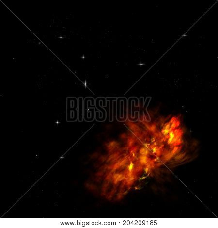 Small part of an infinite star field of space in the Universe. Elements of this image furnished by NASA . 3D rendering.