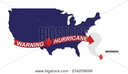 Warning Hurricane Red Symbol, Flag And Arrows On A White Background. Flat Vector Illustration Eps 10