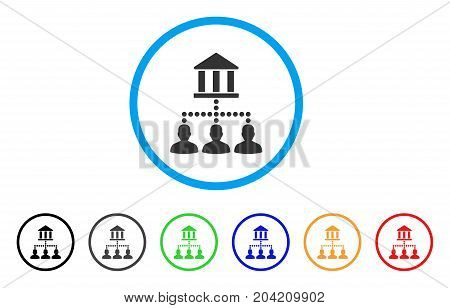 Bank Client Links icon. Vector illustration style is a flat iconic bank client links grey rounded symbol inside light blue circle with black, gray, green, blue, red, orange color additional versions.