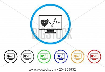 Cardio Monitoring icon. Vector illustration style is a flat iconic cardio monitoring grey rounded symbol inside light blue circle with black, gray, green, blue, red, orange color versions.