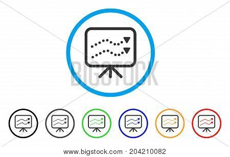 Financial Trends icon. Vector illustration style is a flat iconic financial trends gray rounded symbol inside light blue circle with black, gray, green, blue, red, orange color variants.