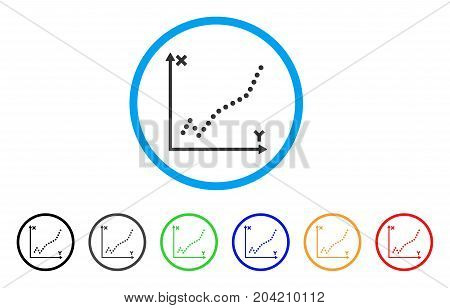 Function Plot icon. Vector illustration style is a flat iconic function plot gray rounded symbol inside light blue circle with black, gray, green, blue, red, orange color additional versions.