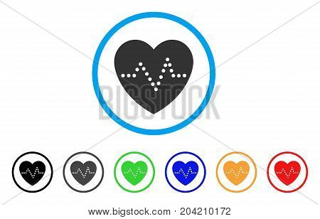 Heart Pulse icon. Vector illustration style is a flat iconic heart pulse gray rounded symbol inside light blue circle with black, gray, green, blue, red, orange color versions.