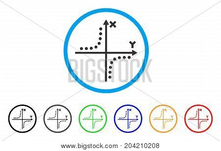 Hyperbola Plot icon. Vector illustration style is a flat iconic hyperbola plot grey rounded symbol inside light blue circle with black, gray, green, blue, red, orange color additional versions.